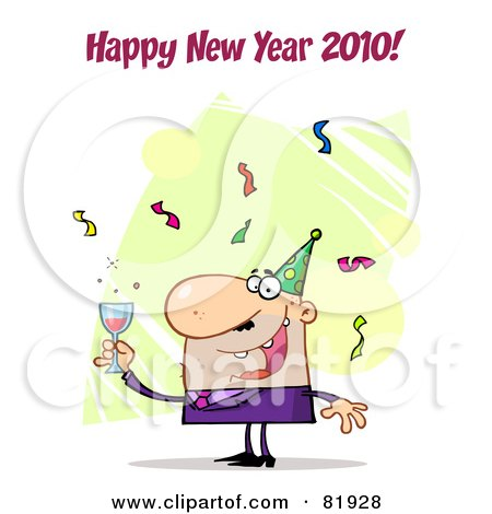 Royalty-Free (RF) Clipart Illustration of a Happy New Year Greeting Of A Man Toasting At A Party - Version 3 by Hit Toon