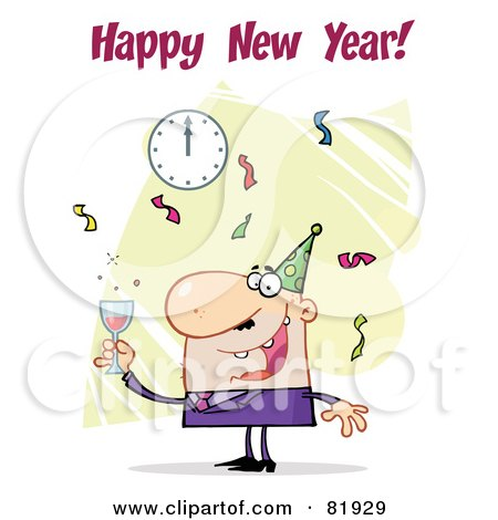 Royalty-Free (RF) Clipart Illustration of a Happy New Year Greeting Of A Man Toasting At A Party - Version 1 by Hit Toon