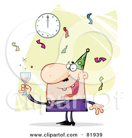 Royalty-Free (RF) Clipart Illustration of a Man Toasting At A New Years Party - Version 3 by Hit Toon