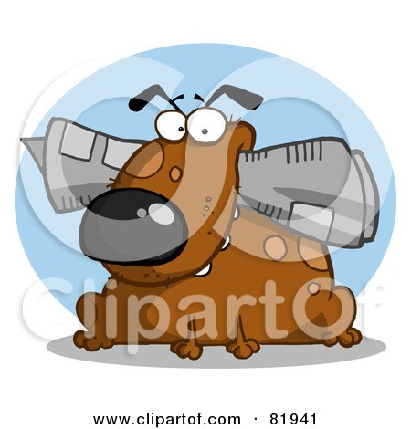 Royalty-Free (RF) Clipart Illustration of a Brown Dog Munching On A Newspaper In Front Of A Blue Circle by Hit Toon