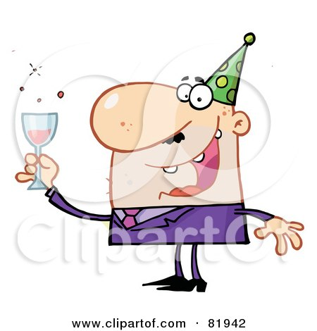 Royalty-Free (RF) Clipart Illustration of a Man Toasting At A New Years Party - Version 1 by Hit Toon