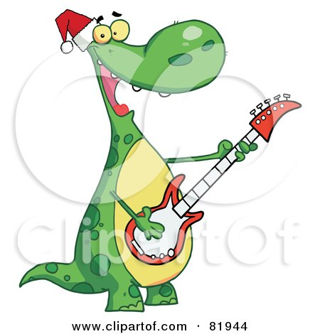 Royalty-Free (RF) Clipart Illustration of a Dinosaur Wearing A Santa Hat And Playing Christmas Music On A Guitar by Hit Toon