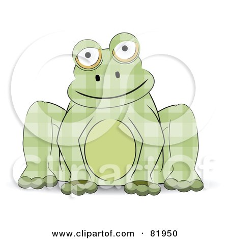 Sitting Green Patchwork Frog Posters, Art Prints