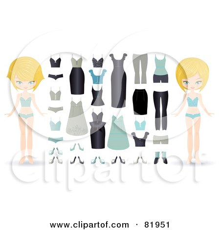Royalty-Free (RF) Clipart Illustration of a Digital Collage Of A Blond Paper Doll In Different Underwear, With A Wardrobe by Melisende Vector
