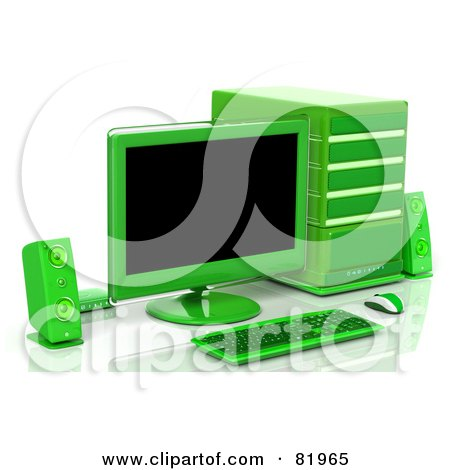Royalty-Free (RF) Clipart Illustration of a 3d Green Desktop Computer Work Station by Tonis Pan