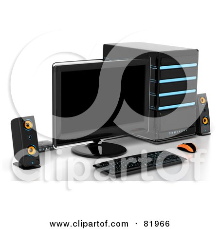 Royalty-Free (RF) Clipart Illustration of a 3d Desktop Computer Work Station by Tonis Pan