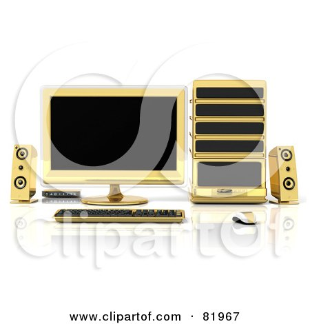 Royalty-Free (RF) Clipart Illustration of a 3d Gold Desktop Computer Work Station by Tonis Pan