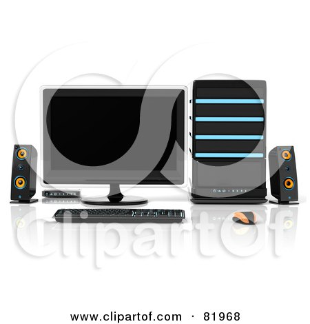 Royalty-Free (RF) Clipart Illustration of a 3d Black Blue And Orange Desktop Computer Work Station by Tonis Pan