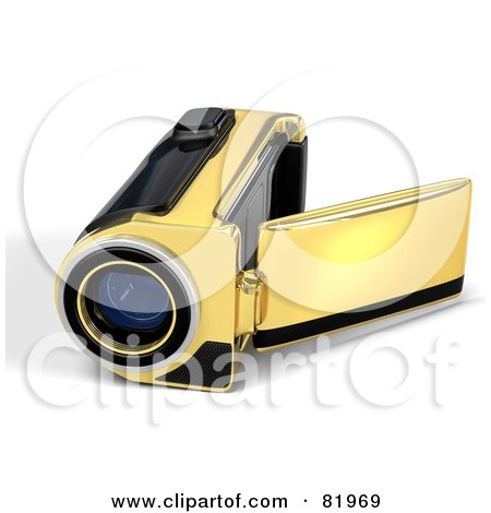 Royalty-Free (RF) Clipart Illustration of a Golden 3d Handy Video Camera With A Pop Out Screen by Tonis Pan