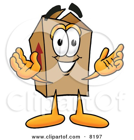 Clipart Picture of a Cardboard Box Mascot Cartoon Character With Welcoming Open Arms by Toons4Biz