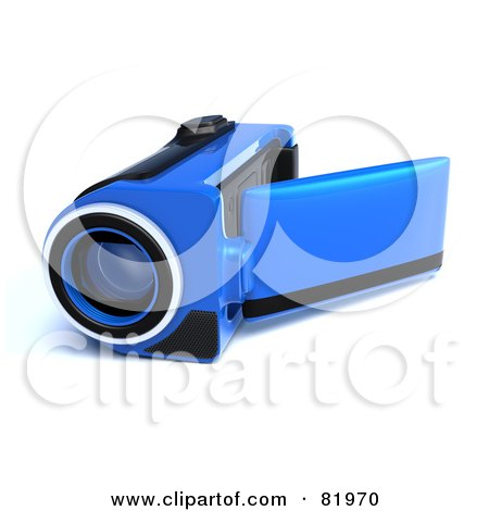 Royalty-Free (RF) Clipart Illustration of a Blue 3d Handy Video Camera With A Pop Out Screen by Tonis Pan