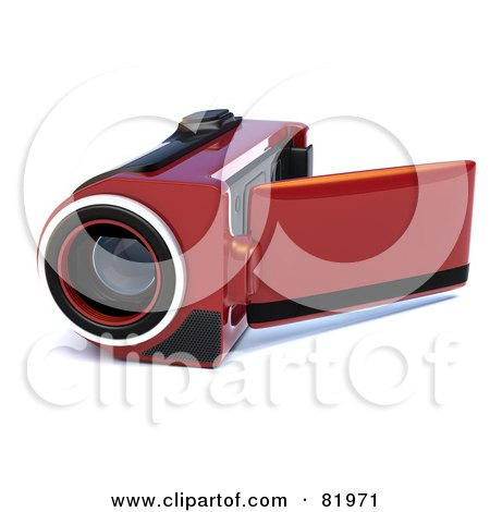 Royalty-Free (RF) Clipart Illustration of a Red 3d Handy Video Camera With A Pop Out Screen by Tonis Pan