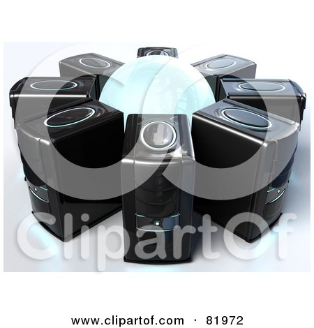 Royalty-Free (RF) Clipart Illustration of a 3d White Globe Circled By Black Server Towers by Tonis Pan