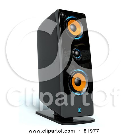 Royalty-Free (RF) Clipart Illustration of a 3d Black, Orange And Blue Music Speaker by Tonis Pan