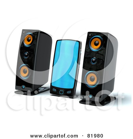 Royalty-Free (RF) Clipart Illustration of a 3d Mp3 Player Between Two Speakers by Tonis Pan