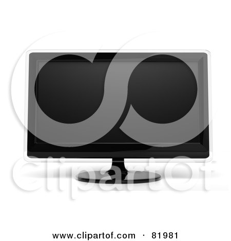Royalty-Free (RF) Clipart Illustration of a 3d Modern Black Tv Or Computer Screen With Clear Edges by Tonis Pan