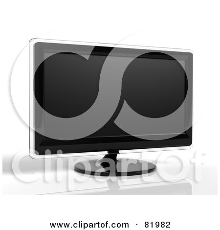 Royalty-Free (RF) Clipart Illustration of a 3d Modern Black Television Or Computer Screen With Clear Edges by Tonis Pan