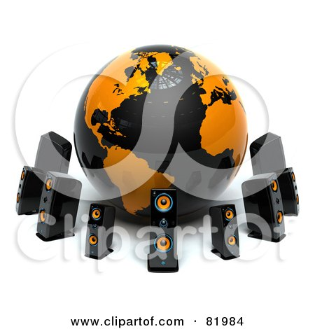 Royalty-Free (RF) Clipart Illustration of a Black And Orange 3d Globe Circled By Speakers by Tonis Pan