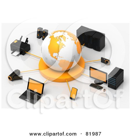Royalty-Free (RF) Clipart Illustration of a 3d White And Orange Circled By A Printer, Speakers, Servers, Computers, Cameras, Mp3 Players, Laptops And Handy Cams by Tonis Pan