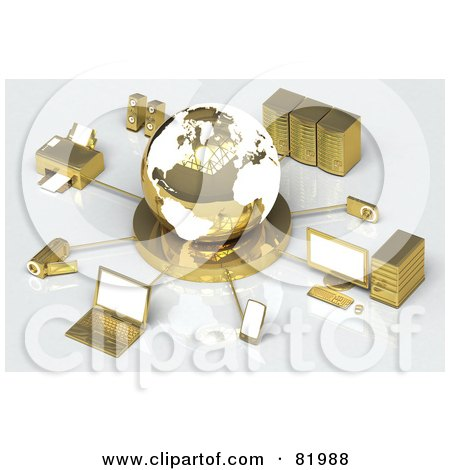 Royalty-Free (RF) Clipart Illustration of a 3d White And Gold Globe Circled By A Printer, Speakers, Servers, Computers, Cameras, Mp3 Players, Laptops And Handy Cams by Tonis Pan