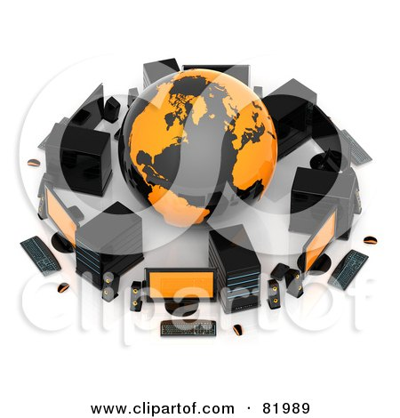 Royalty-Free (RF) Clipart Illustration of a 3d Orange And Black Globe Surrounded By Computers And Speakers by Tonis Pan