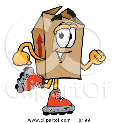 Clipart Picture of a Cardboard Box Mascot Cartoon Character Roller Blading on Inline Skates by Toons4Biz