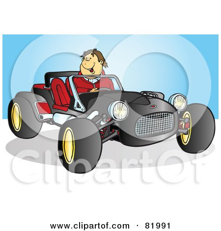 Royalty-Free (RF) Clipart Illustration of a Happy Man Driving A Black Buggy Sports Car by Snowy