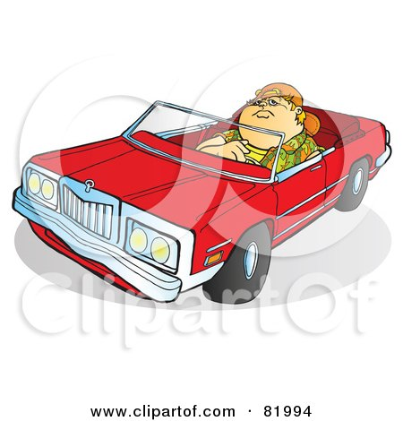 fat boy clipart. Fat Boy Driving A Red