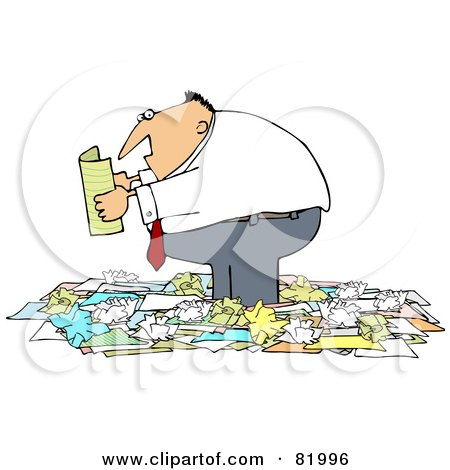Royalty-Free (RF) Clipart Illustration of a Chubby Businessman Standing In A Pile Of Crumpled Papers And Reading by djart
