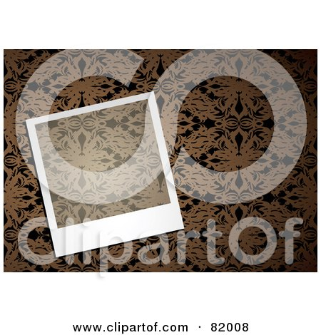 Royalty-Free (RF) Clipart Illustration of a Transparent Instant Polaroid Photo Picture Over A Brown Floral Pattern Background by michaeltravers