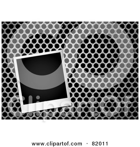 Royalty-Free (RF) Clipart Illustration of a Blank Instant Polaroid Photo Picture On A Metal Grill by michaeltravers