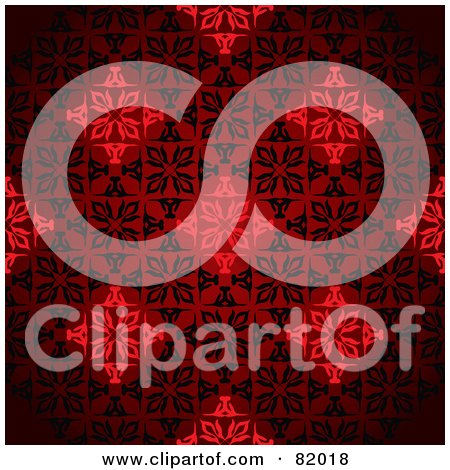 Royalty-Free (RF) Clipart Illustration of a Red Diamond Floral Victorian Patterned Background by michaeltravers