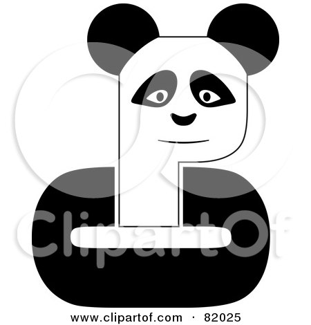 Royalty-Free (RF) Clipart Illustration of a Black And White P Panda With C Arms by michaeltravers