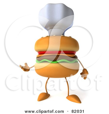 Royalty-Free (RF) Clipart Illustration of a 3d Cheeseburger Character Wearing A Chef Hat And Gesturing by Julos