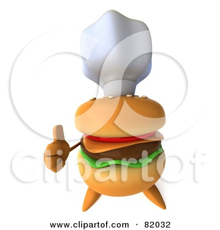 Royalty-Free (RF) Clipart Illustration of a 3d Cheeseburger Character Wearing A Chef Hat And Giving The Thumbs Up by Julos