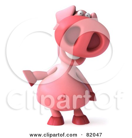 Royalty-Free (RF) Clipart Illustration of a 3d Pookie Pig Character Facing Front And Gesturing Left by Julos
