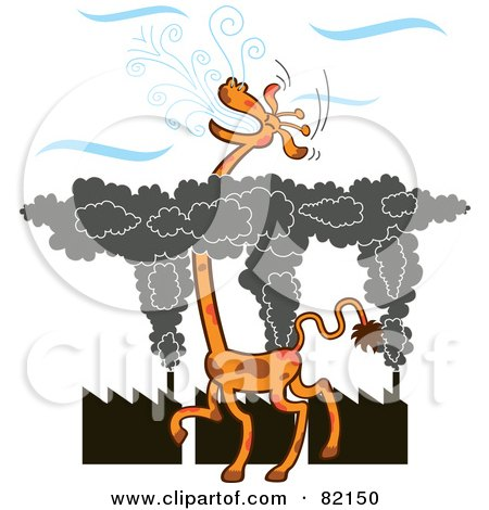 Royalty-Free (RF) Clipart Illustration of a Tall Giraffe Gasping For Fresh Air Above A Layer Of Factory Smog by Zooco
