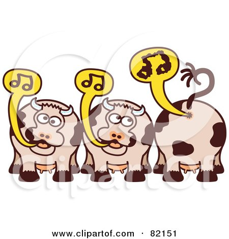 Royalty-Free (RF) Clipart Illustration of a Group Of Burping And Farting Singing Cows With Music Notes by Zooco