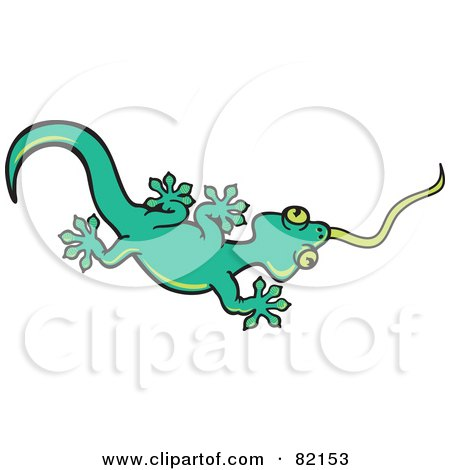 Royalty-Free (RF) Clipart Illustration of a Green Gecko Lizard Shooting His Tongue Out by Zooco