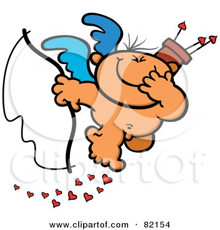 Giggling Nude Cupid Holding A Bow And Covering His Mouth While Dropping Hearts Posters, Art Prints
