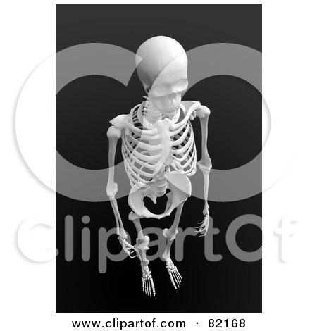 Royalty-Free (RF) Clipart Illustration of a 3d Aerial View Of A Human Skeleton On Dark Gray by Mopic