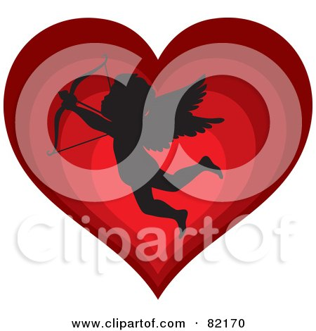 Royalty-Free (RF) Clipart Illustration of a Black Cupid Silhouette Over A Gradient Red Heart by Rosie Piter