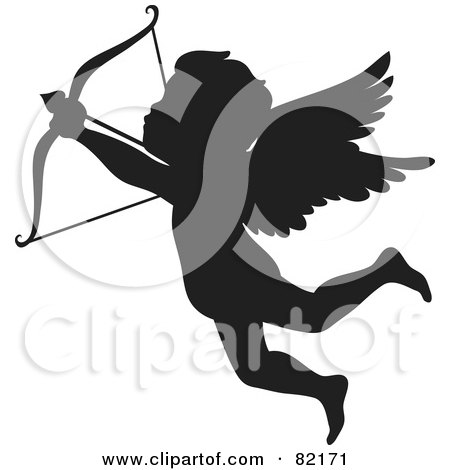 Royalty-Free (RF) Clipart Illustration of a Black Cupid Silhouette Shooting An Arrow by Rosie Piter