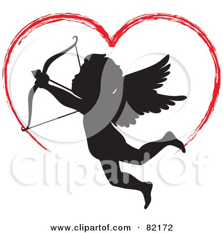 Royalty-Free (RF) Clipart Illustration of a Red Painted Heart Above A Black Cupid Silhouette by Rosie Piter