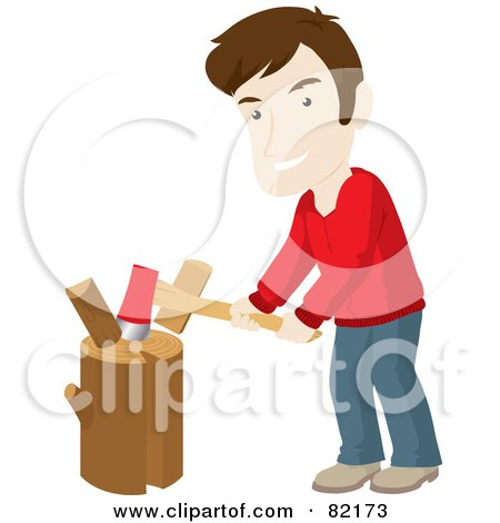 Royalty-Free (RF) Clipart Illustration of a Caucasian Man Smiling While Chopping Wood On A Stump by Rosie Piter