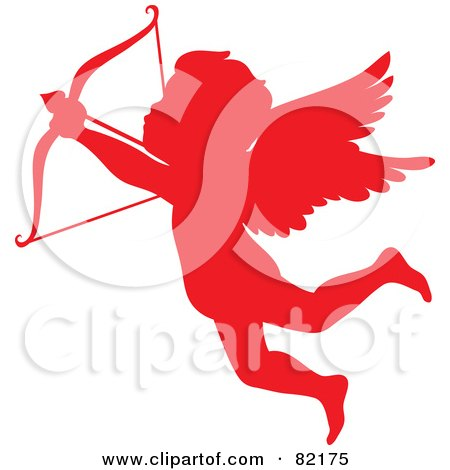 Royalty-Free (RF) Clipart Illustration of a Red Cupid Silhouette Shooting An Arrow by Rosie Piter