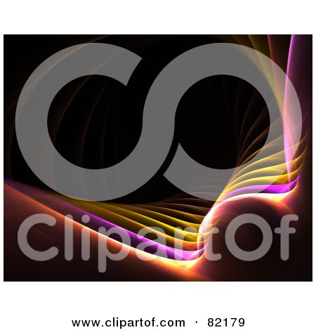 Royalty-Free (RF) Clipart Illustration of a Yellow, Purple And Orange Fractal Wave On Black by Arena Creative
