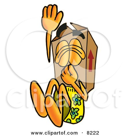 Clipart Picture of a Cardboard Box Mascot Cartoon Character Plugging His Nose While Jumping Into Water by Toons4Biz