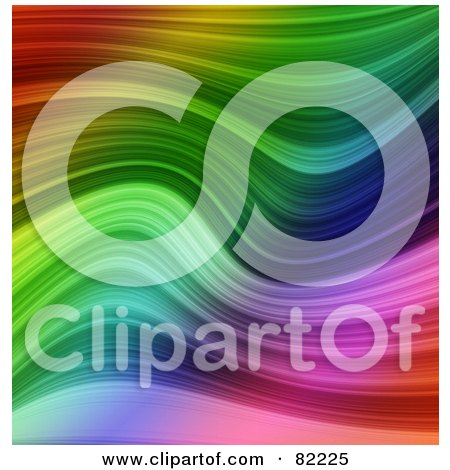 Royalty-Free (RF) Clipart Illustration of a Wavy Rainbow Swoosh Background by MacX