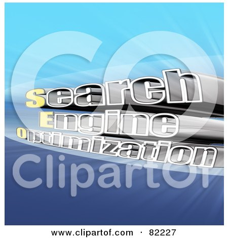 Royalty-Free (RF) Clipart Illustration of a 3d Search Engine Optimization Text With Light On Blue by MacX